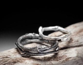 twig wedding band set, sterling silver branch rings - Elvish You Belong Together