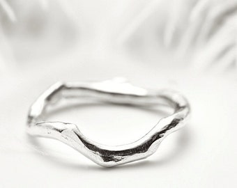 Staking silver ring - Organic coral branch inspired band - Shipwrecked in Heaven