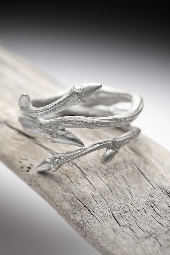 Elvish Twine Sterling Silver Twig Ring Stacking Ring