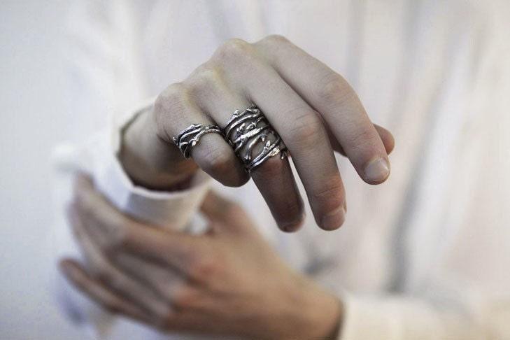 elvish twine stacking ring dark silver twig ring redsofa jewelry - Elvish Wedding Rings