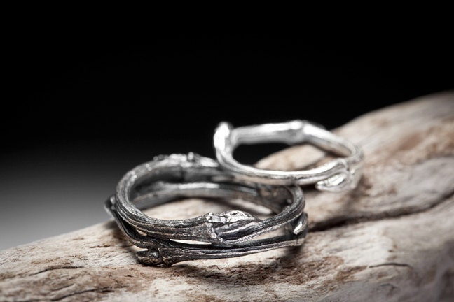 Twig Wedding Band Set Sterling Silver Branch Rings Elvish