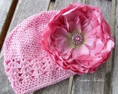 Pink Peony Flower Hair Clip, Beanie Hat / Photo Prop for Baby Girls
