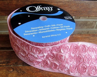 """4"""" Pink Wired Rosette Ribbon for Hairbows, Wedding, Decor and more"""