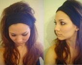 STRETCHY BLACK rayon jersey Brigitte Bardot style headband