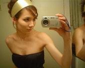 METALLIC GOLD wide headband Metallic movie star hair head dress Holiday sparkle HOT