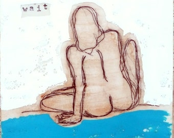 Just Wait- original encaustic painting