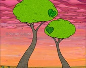 2 trees - signed digital illustration art print 8X10 inches - love peach pink magenta chartreuse green colorful