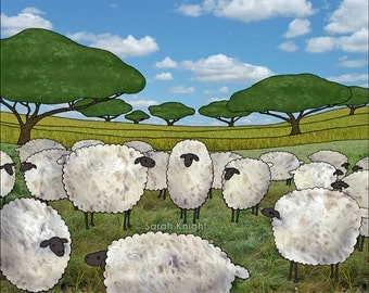 greener pasture - signed digital illustration art print 8X10 inch, sheep sky blue green landscape picture lamb ewe easter country grass