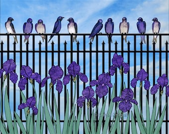 purple martins & purple irises - signed digital illustration art print 8X10 inch - birds violet blue iris flowers garden scene fence green
