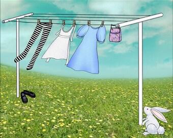 wonderland wash - signed digital illustration art print 8X10 inches by Sarah Knight, laundry aqua blue green white bunny washroom art