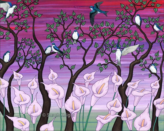 calla lilies & tree swallows - signed digital illustration art print 8X10 inches - pink purple magenta mauve lilac birds trees green flowers