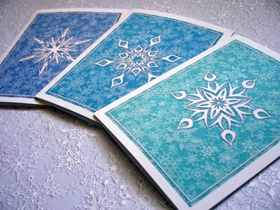 12 snowflake Christmas cards VARIETY PACK blue snowstorms