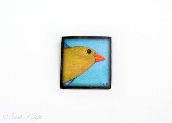 female American goldfinch - bird art brooch by Sarah Knight