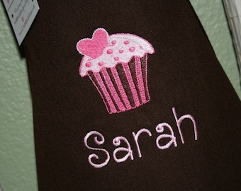 Pink Cupcake--Personalized Kids Apron-Embroidered--2 youth sizes available