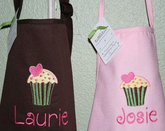 """Yellow Cupcake- 24"""" or 34"""" L Custom Embroidered Apron for the Mom and Daughter - 2 youth sizes available--Mother's Day gift"""