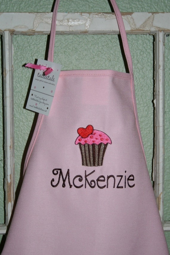 Hot Pink Cupcake--Custom Embroidered Youth Apron--2 sizes available