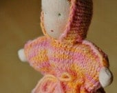 handknitted waldorf doll, peachy pink