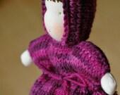 handknitted waldorf doll, grape raspa