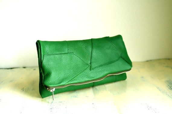 Patchwork Fold Over Clutch in Forest Green