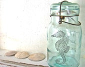 Beach Cottage Chic, Glass Vase, Seahorse, Blue Mason Jar, Shabby Chic Home Decor, Beach House Decor, Recycled Glass Bottle