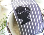 Modern Farmhouse Kitchen Towel, Cottage Chic Silhouette Hand Printed Towel, Shabby Home Decor