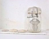 Shabby Beach Cottage, Glass Vase, Jellyfish, Mason Jar, Ocean, Chic Beach Home Decor