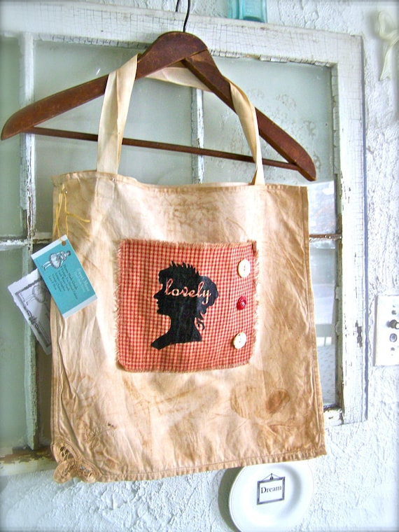 Farmhouse Tote Bag Spring Tea Stained Vintage Linens SWEET & Girly Gingham check Red cameo lovely hand screened printed Old Buttons