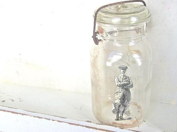 Farmhouse CHIC Vintage Mason Jar w/ Victorian Man Steampunk Home Decor Emphera