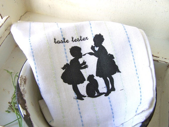 Shabby Chic Kitchen Towel, Hand Towel, Silhouette, Modern Farmhouse White COTTAGE