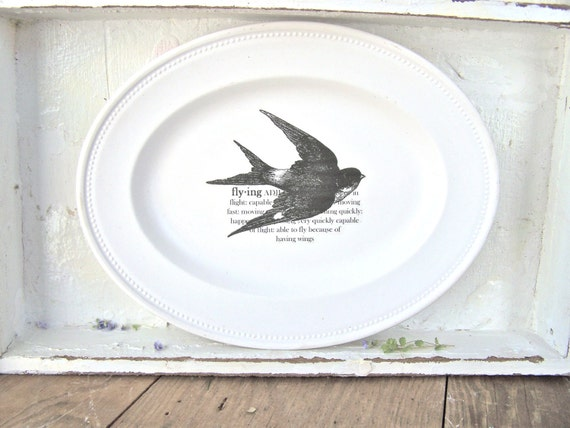 Shabby Cottage Chic Wall Decor, Bird, Sparrow, Dictionary Definition, Modern Farmhouse Home Decor