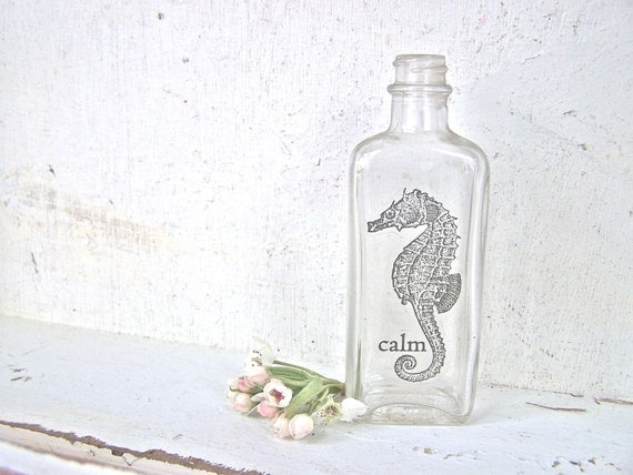 Beach Cottage Chic, Glass Vase, Seahorse, Mini Vase, Old Bottle, Shabby Chic Home Decor, Beach House, Recycled Glass Bottle