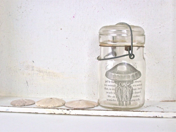 Shabby Beach Cottage, Glass Vase, Jellyfish, Mason Jar, Ocean, Chic Beach Home Decor