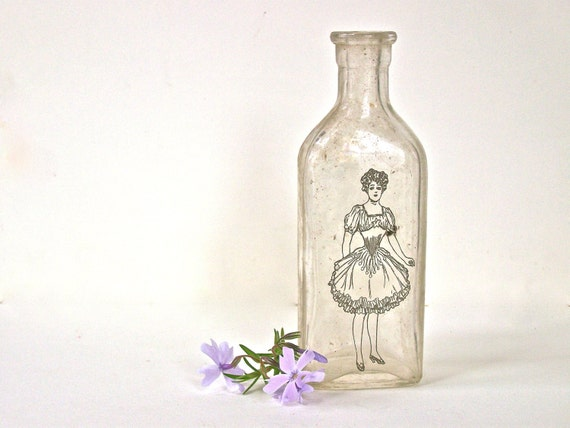 Shabby Chic Vase, Glass Vase,  Mini Vase, Apothecary bottle, Modern Farmhouse, Recycled Glass Bottle