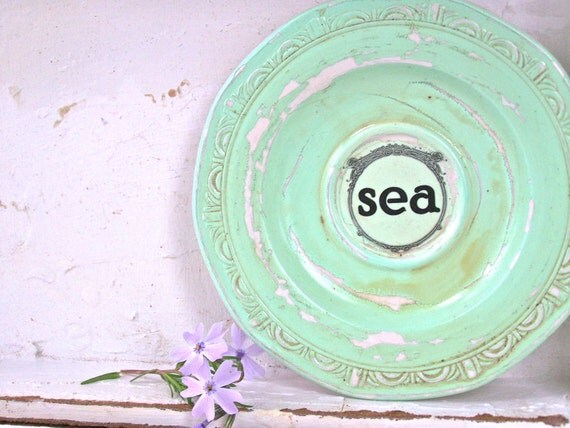 Shabby Beach Cottage Sea Sign, Wall Decor, Aqua, Vintage Beach House, Ocean Nautical Home Decor