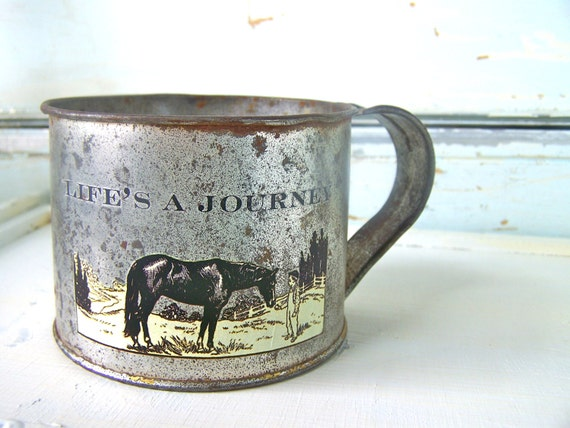 Vintage Tin Cup, Modern Farmhouse Home Decor, Horse, Rustic Shabby Chic