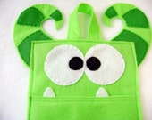 Felt Holiday Stocking - Benji the Monster - Lime Green Striped Horns Unusual