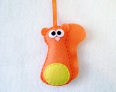 Felt Holiday Ornament - Hans the Orange Squirrel - Made to Order