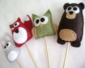 Cupcake Toppers - Forest Friends - Made to Order - Set of 7 Party Favors - Bear Fox Rabbit Owl Squirrel Moose Mushroom