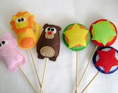 Felt Cupcake Toppers - Cheerful Circus - Set of Six Party Favors - Made to Order - Lion Elephant Bear