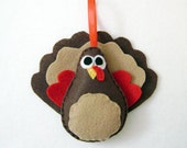 Turkey Ornament, Felt Animals, Christmas Ornament, Thanksgiving, Jake the Turkey - Made to Order, Holiday Decoration, Tree Ornament
