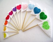 Cupcake Toppers - Friendly Flags - Set of 12 - Rainbow Hearts