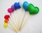 Cupcake Toppers - Rainbow of Love - Set of 10 - Rainbow Hearts - Made to Order