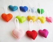 Felt Ornament Set - Rainbow Love - 12 Hearts