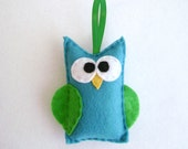 Felt Holiday Ornament - Ryan the Teal Owl - Made to Order