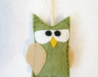 Owl Ornament, Christmas Ornament, Ornament, Fortinbras the Olive Owl, Felt Animals, Woodland Animals