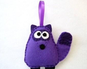 Felt Christmas Ornament - Barry the Purple Raccoon