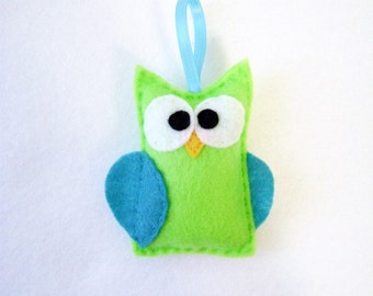 Christmas Ornament - Emily the Lime Green Owl - Made to Order