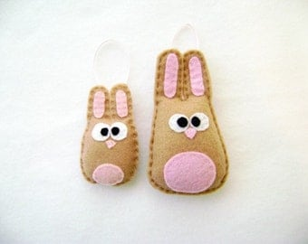 Bunny Ornament, Beth and Baby Beth the Tan Bunnies - Made to Order, Mommy and Baby, Nursery Decoration, Baby Shower