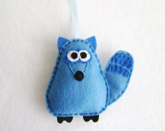 Raccoon Ornament, Christmas Ornament, Felt Animal, Igon the Blue Raccoon - Made to order, Gift topper, Woodland animal, Forest, Keepsake