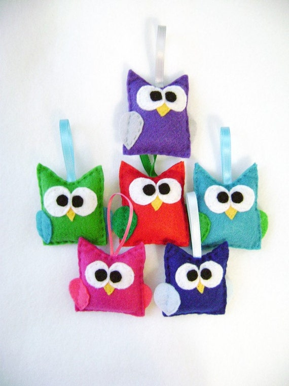 Owl Ornament, Baby Owl Set, Made to Order, Christmas Ornament, Party Favors, Baby Room Decoration